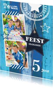 Kinderfeestjes - Uitnodiging feest ster blauw