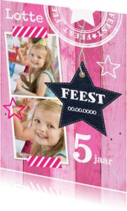 Kinderfeestjes - Uitnodiging feest ster roze