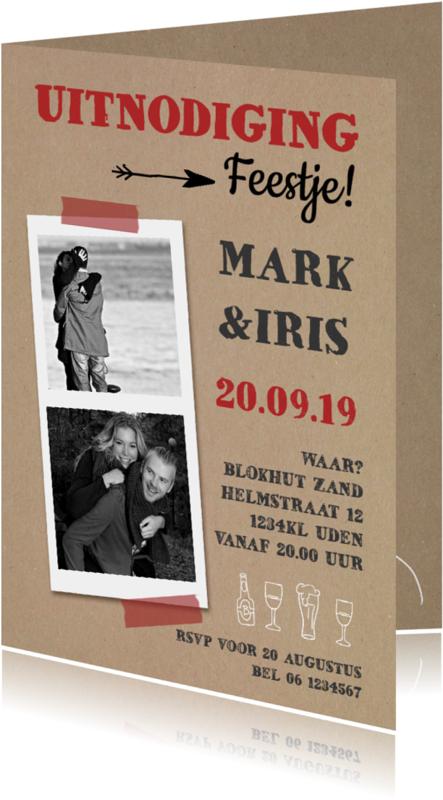 Uitnodigingen - Uitnodiging feestje karton foto