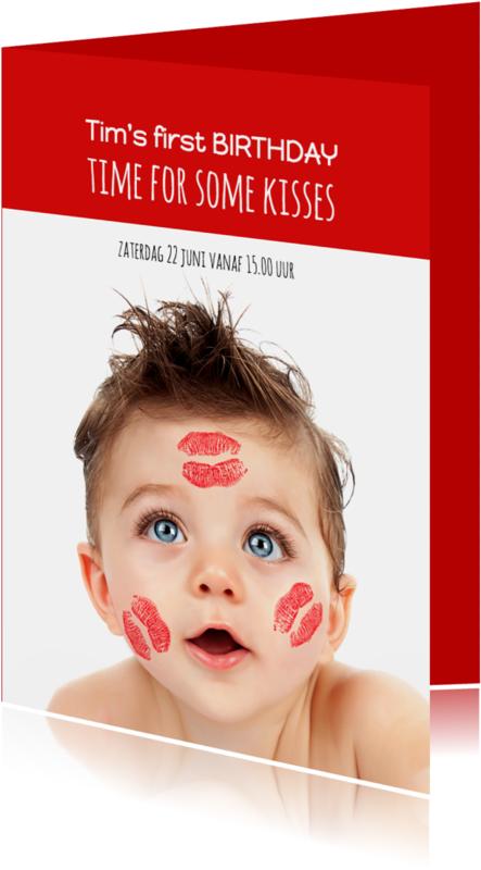 Kinderfeestjes - Uitnodiging foto met kus - OT