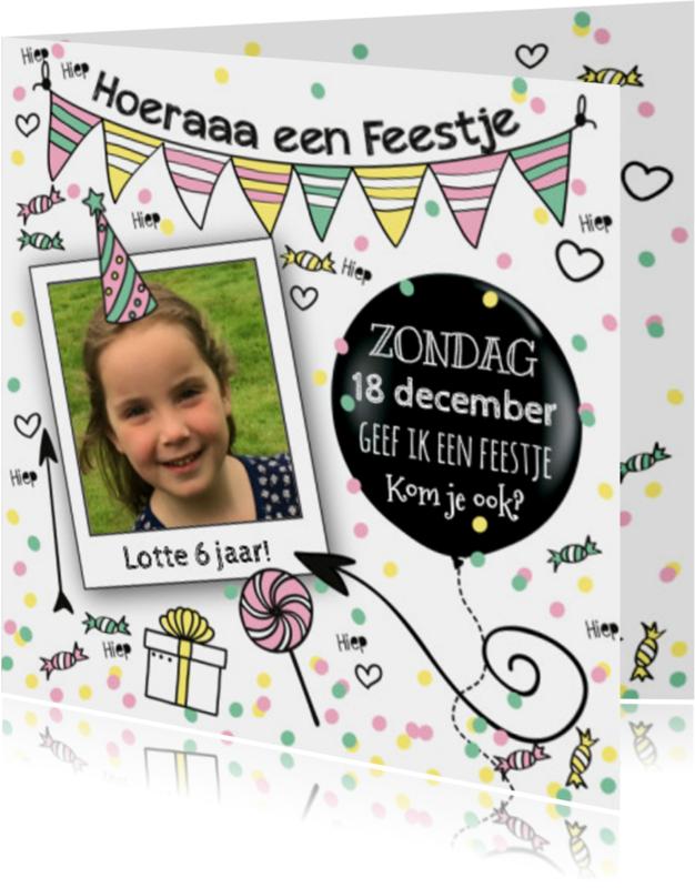 Kinderfeestjes - Uitnodiging hip kinderfeestje