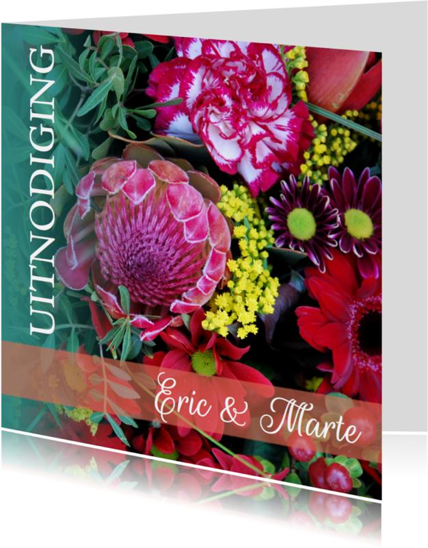 Jubileumkaarten - Uitnodiging jubileum bloem av