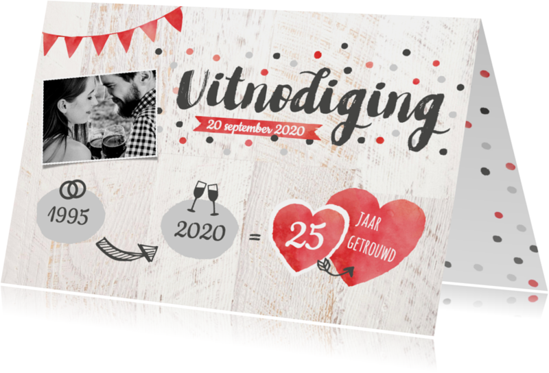 Uitnodigingen - Uitnodiging jubileum foto, confetti, hartjes