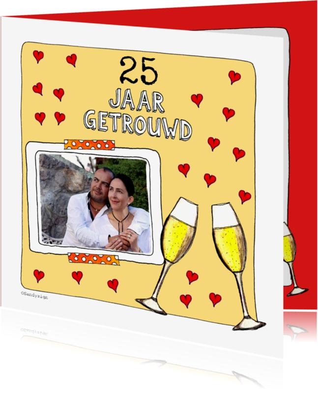 Jubileumkaarten - Uitnodiging jubileum huwelijk champagneglazen - SD