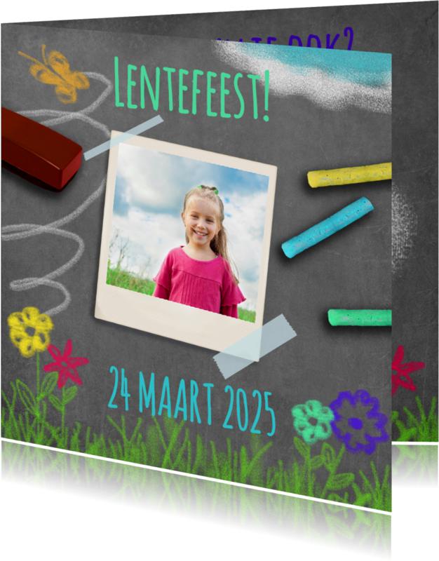Communiekaarten - Uitnodiging lente krijt - BK