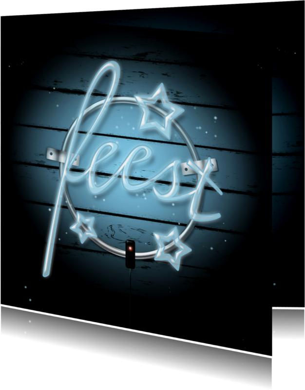 Uitnodigingen - Uitnodiging neon feest A