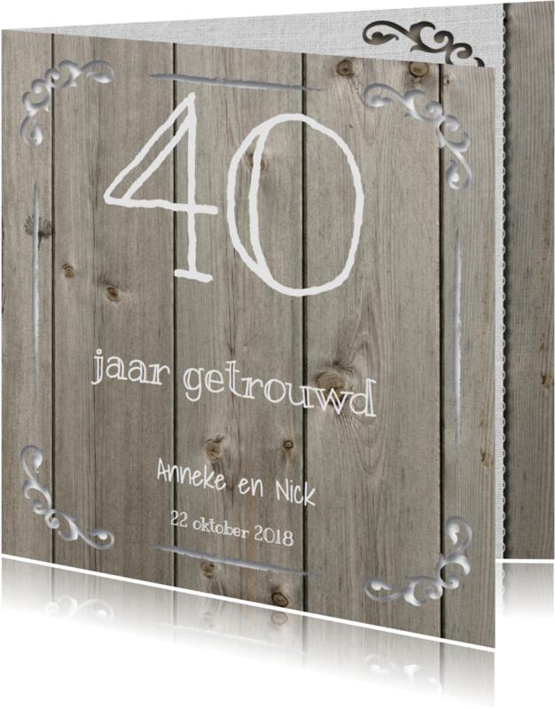 Jubileumkaarten - Uitnodiging Sierlijk Hout