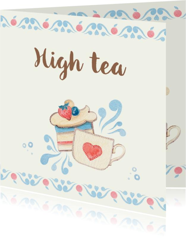 Uitnodigingen - Uitnodiging thee met gebak