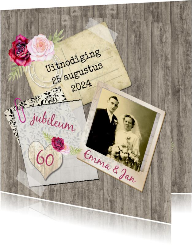 Jubileumkaarten - Uitnodiging vintage rozen