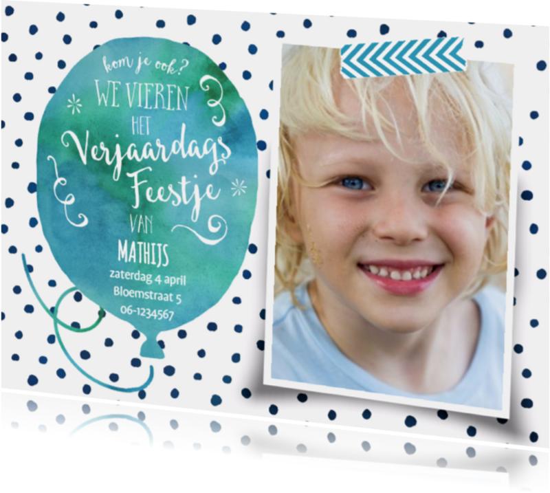 Kinderfeestjes - Uitnodiging waterverf stippen