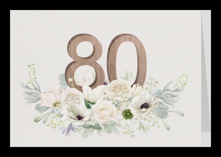 Uitnodigingen - Uitnodiging witte bloemen 80 jaar