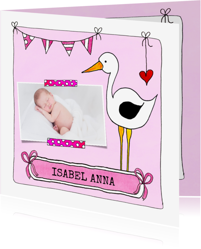 Geboortekaartjes - Uniek geboortekaartje meisje ooievaar foto en slinger - SD