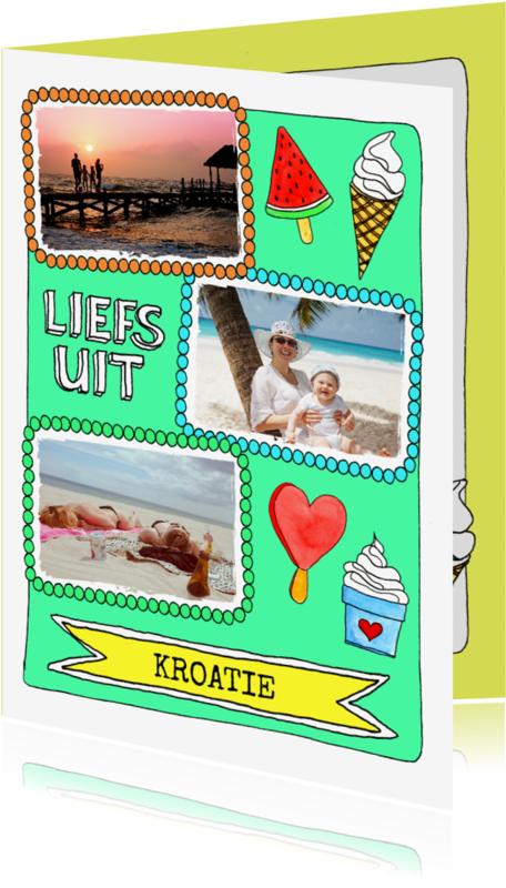 Vakantiekaarten - Vakantiekaart 'liefs uit' ijsjes illustraties - SD