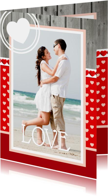 Valentijnskaarten - Valentijnskaart Hartjes Staand