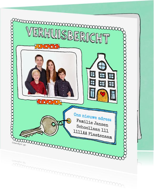 Verhuiskaarten - Verhuisbericht adreswijziging grachtenhuisje met foto - SD