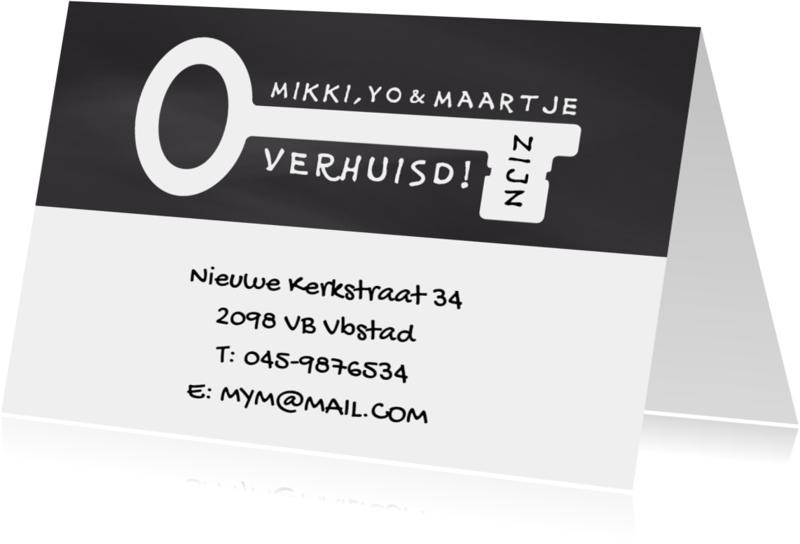 Verhuiskaarten - Verhuisd eigen tekst sleutel z/w