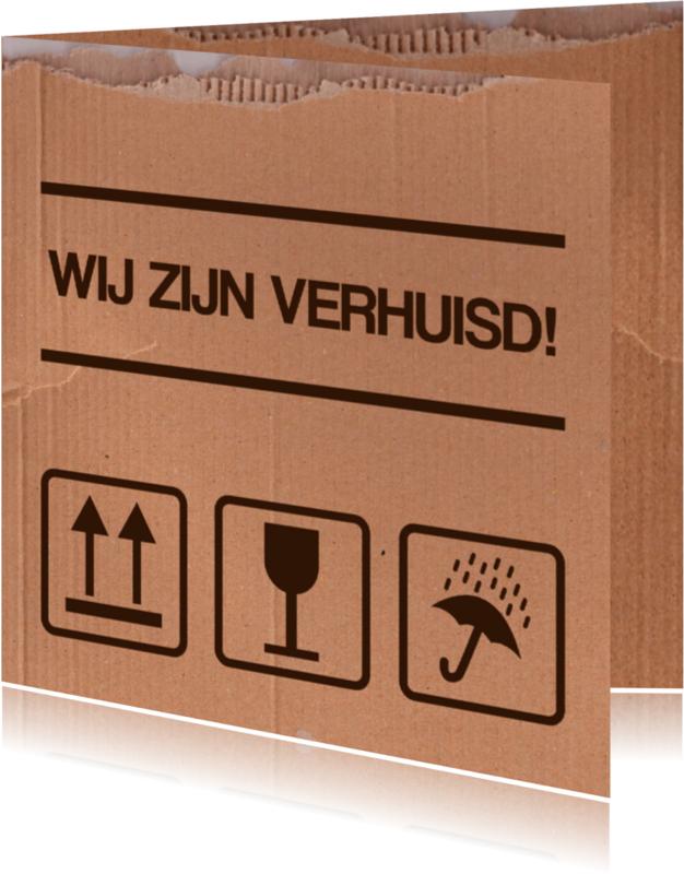 Verhuiskaarten - Verhuisdoos symbolen bruin
