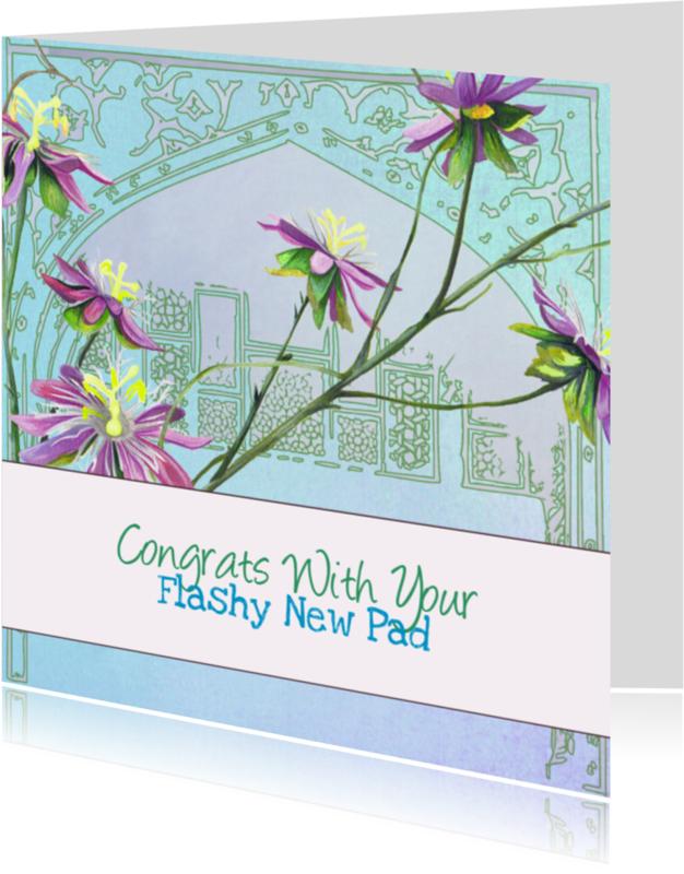 Verhuiskaarten - Verhuiskaart Bloemen blauw paars groen