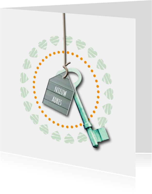 Verhuiskaarten - Verhuiskaart Sleutel Hout Huisje