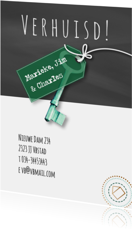 Verhuiskaarten - Verhuiskaart txt krijt sleutel