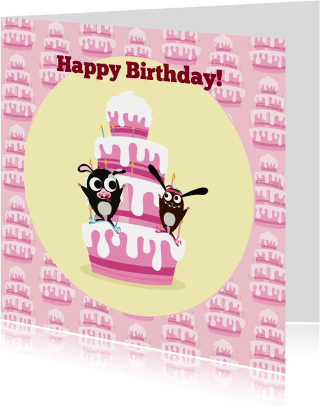 Verjaardagskaarten - Verjaardag Beerie & Veerie taart