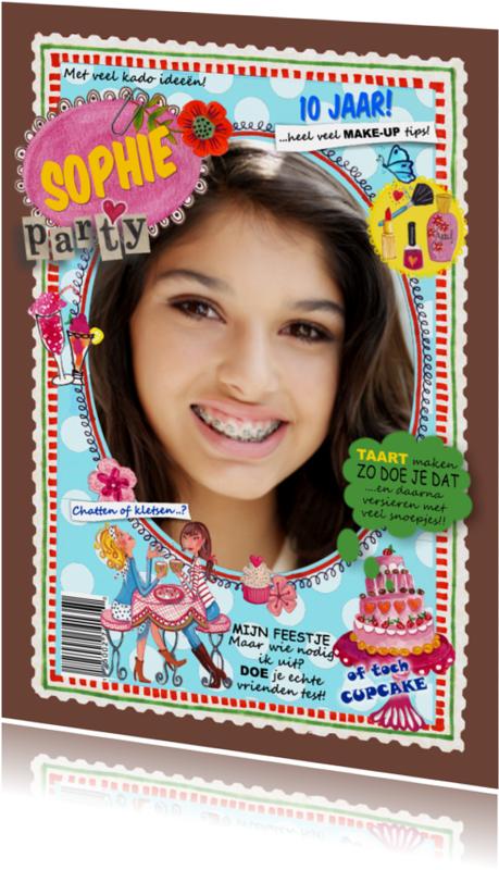 Kinderfeestjes - Verjaardag FEEST Eigen Foto Meisje Blauw