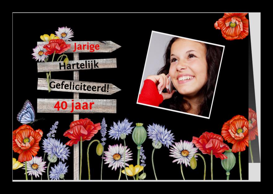 Verjaardagskaarten - Verjaardag klaprozen krijtbord