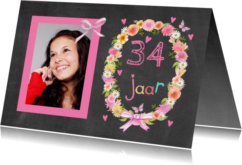 Verjaardagskaarten - verjaardag leeftijd krans