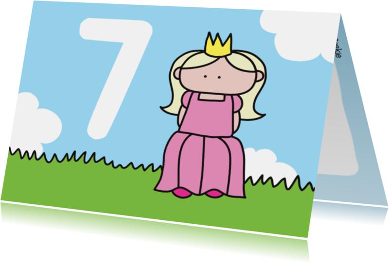 Verjaardagskaarten - Verjaardag Prinses 7 jaar