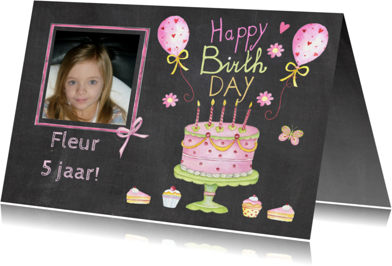 Verjaardagskaarten - verjaardag taartje vijf jaar