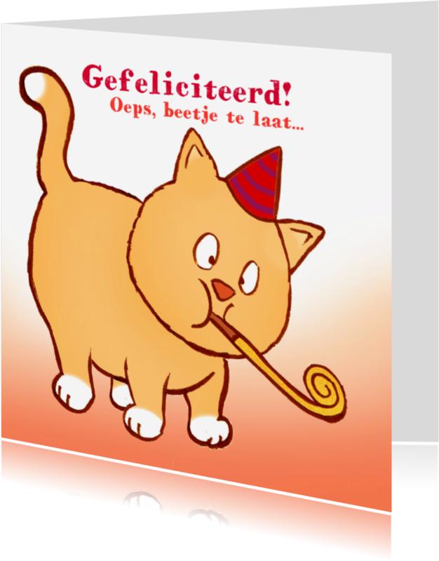 Verjaardagskaarten - Verjaardag te laat oranje kat