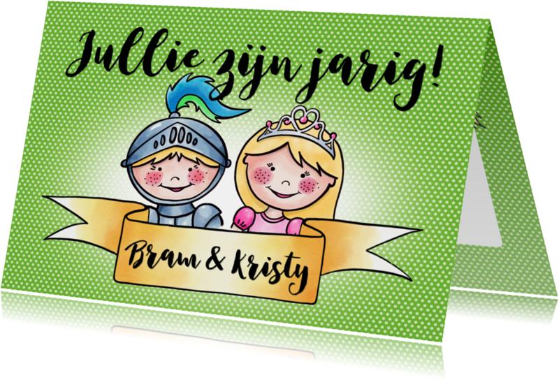 Verjaardagskaarten - Verjaardag tweeling - ridder en prinses EM