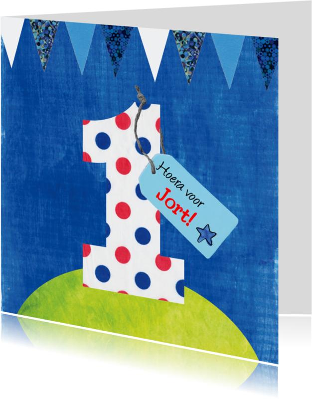 Verjaardagskaarten - verjaardagskaart 1 jaar jongen