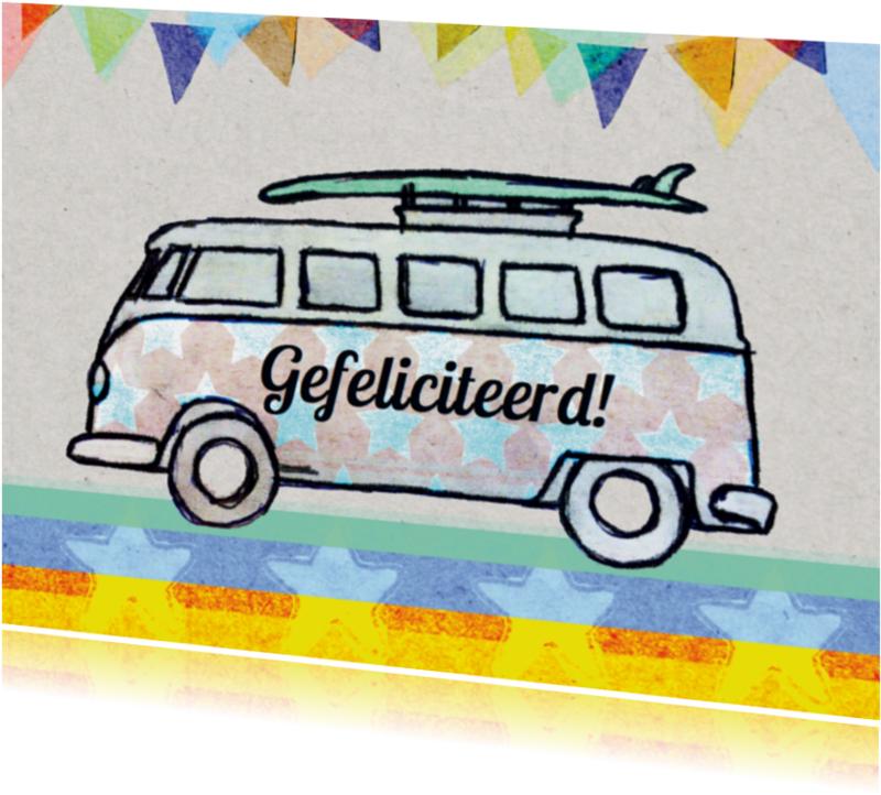 Verjaardagskaarten - verjaardagskaart auto busje