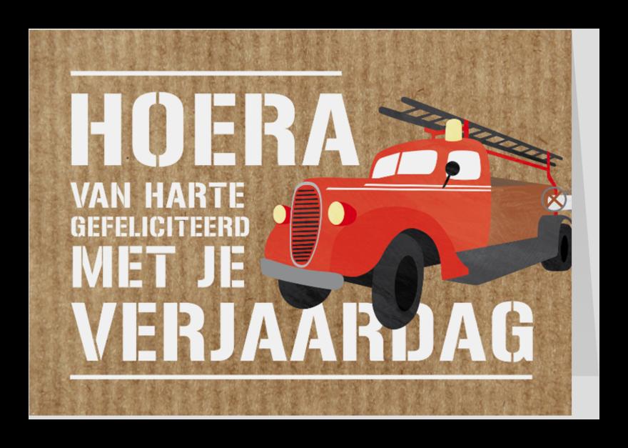 Verjaardagskaarten - Verjaardagskaart brandweerauto