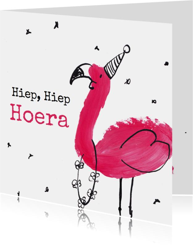 Verjaardagskaarten - Verjaardagskaart Flamingo
