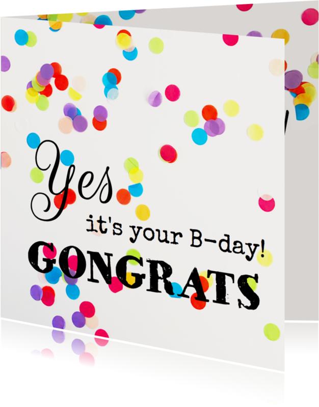 Verjaardagskaarten - Verjaardagskaart  kleur confetti