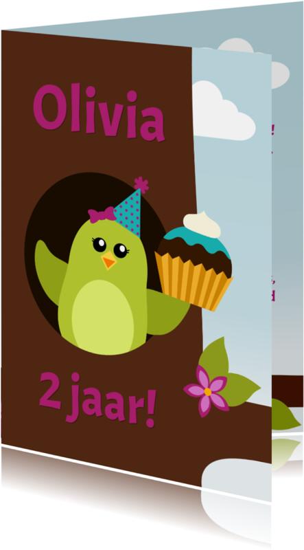 Verjaardagskaarten - Verjaardagskaart meisje vogel in boom - DD
