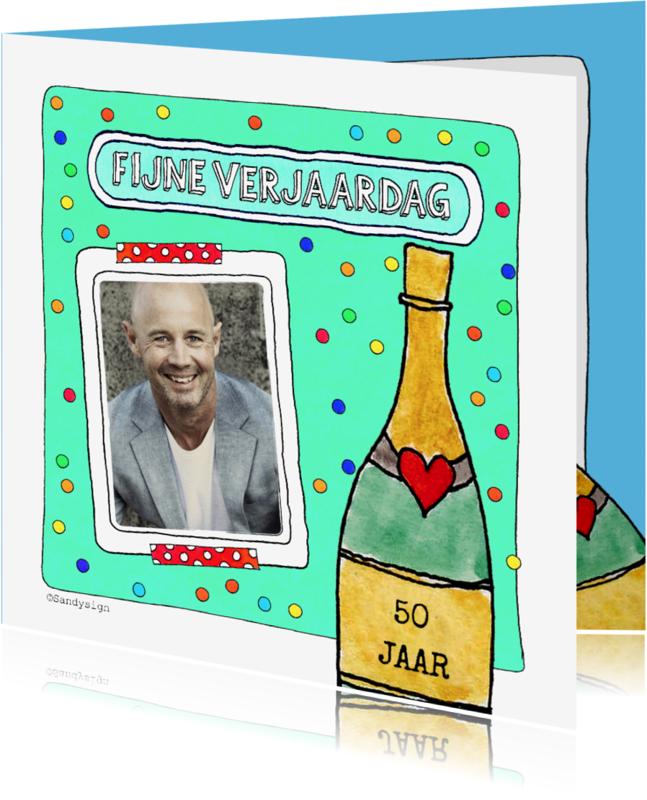 Verjaardagskaarten - Verjaardagskaart met foto en champagnefles illustratie - SD