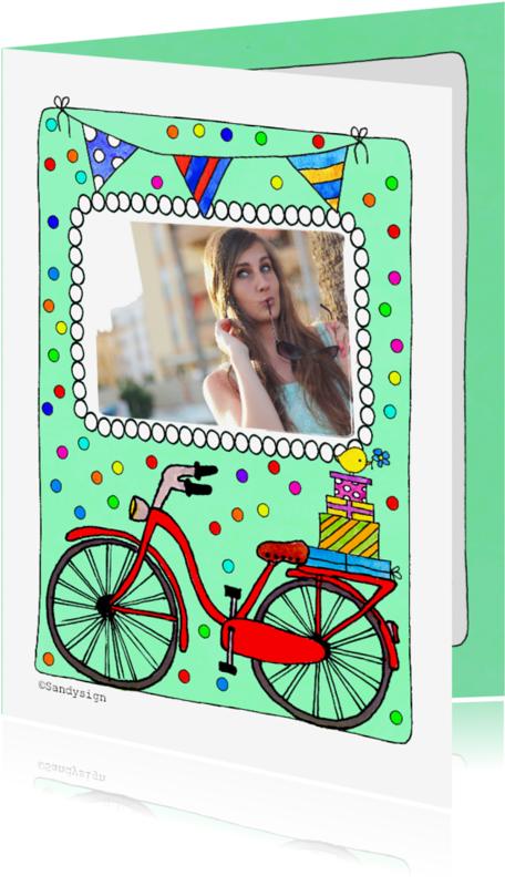 Verjaardagskaarten - Verjaardagskaart met foto en fiets  illustratie - SD
