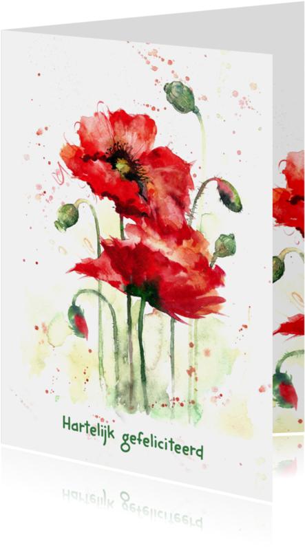 Verjaardagskaarten - Verjaardagskaart met rode klaprozen