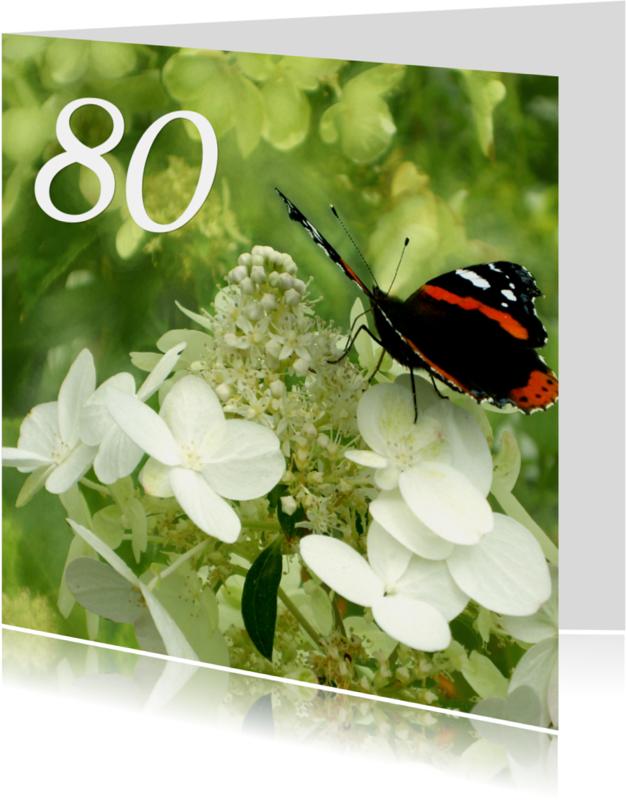 Verjaardagskaarten - Verjaardagskaart vlinder senior