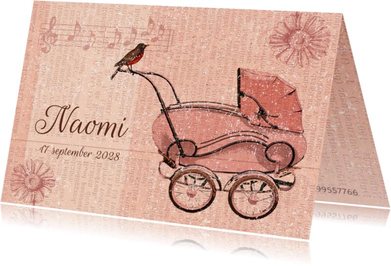 Geboortekaartjes - Vintage kinderwagen roze