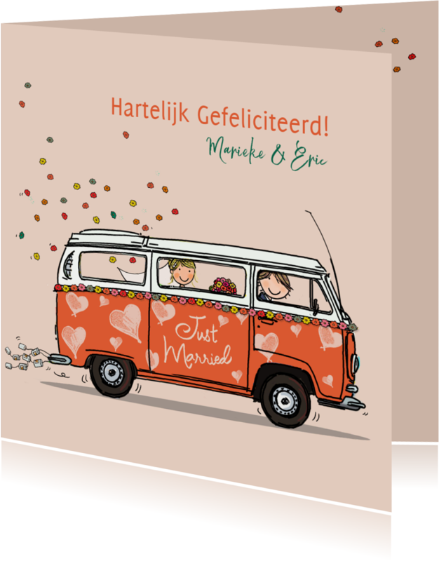 Felicitatiekaarten - VW bus hartjes Anet Illustraties