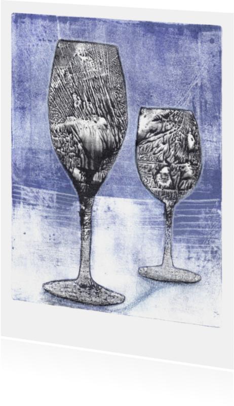 Uitnodigingen - Wenskaart blauwe glazen
