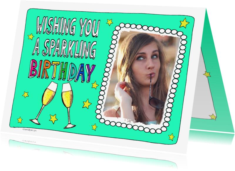 Verjaardagskaarten - Wishing you a sparkling birthday champagneglazen - SD