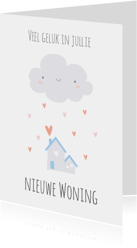 Felicitatiekaarten - Woning   Wolkje & hartjes - KO