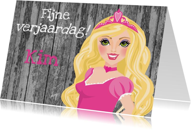 Verjaardagskaarten - YVON barbie prinses fijne verjaardag