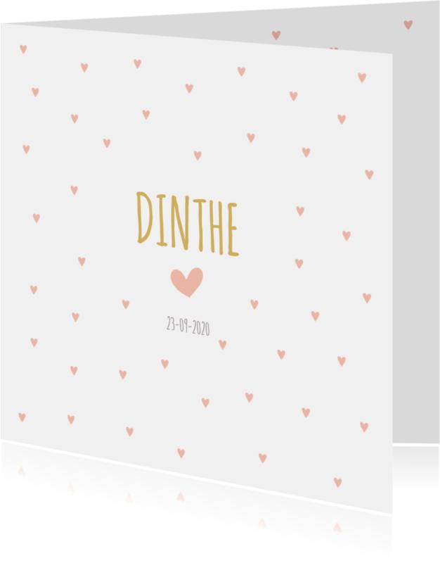 Geboortekaartjes - Zalmroze hartjes met gele letters