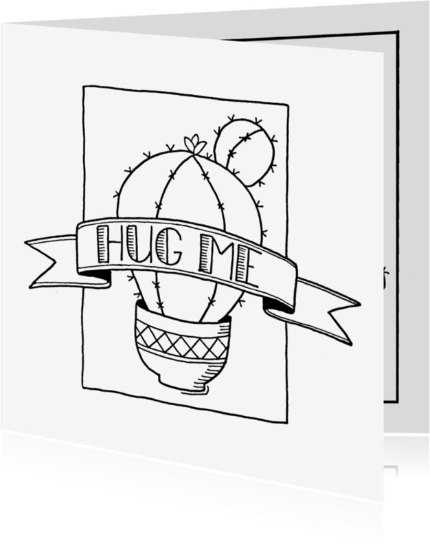 Zomaar kaarten - Zomaar kaart cactus hug me - ST